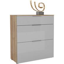 MAJA Möbel Schuhschrank mit Holztop Trend Riviera Eiche Glas seidengrau Typ III