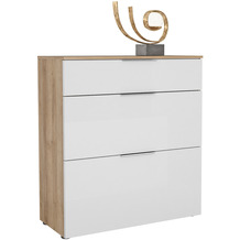 MAJA Möbel Schuhschrank mit Holztop Trend Riviera Eiche Weißglas Typ III