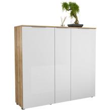 MAJA Möbel Schuhschrank mit Holztop Trend Riviera Eiche Weißglas Typ I