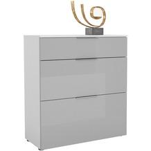 MAJA Möbel Schuhschrank mit Holztop Trend weiß matt Glas seidengrau Typ III