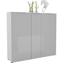 MAJA Möbel Schuhschrank mit Holztop Trend weiß matt Glas seidengrau Typ I
