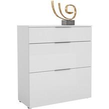 MAJA Möbel Schuhschrank mit Holztop Trend weiß matt Weißglas Typ III