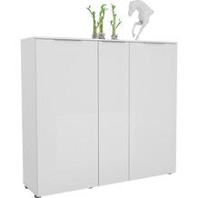 MAJA Möbel Schuhschrank mit Holztop Trend weiß matt Weißglas Typ I