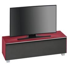 MAJA Möbel Soundboard Glas himbeerrot matt - Akustikstoff schwarz 1402 x 433 x 420 mm