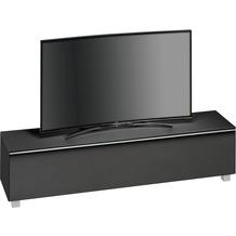 MAJA Möbel Soundboard SOUNDCONCEPT GLASS Schwarzglas matt - Akustikstoff schwarz 180,2 x 43,3 x 42 cm