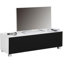 MAJA Möbel Soundboard SOUNDCONCEPT GLASS Weißglas matt - Akustikstoff schwarz 140,2 x 43,3 x 42 cm