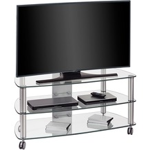 MAJA Möbel TV-Rack MEDIA MODELLE GLAS Metall Alu - Klarglas 110 x 50,6 x 50,8 cm