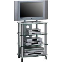 MAJA Möbel TV- und HiFi-Rack MEDIA MODELLE GLAS Metall Alu - Klarglas 60 x 74,4 x 46,5 cm