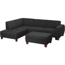 Max Winzer Ecksofa links mit Sofa 2,5-Sitzer rechts Blackpool Flachgewebe (Leinenoptik) schwarz 248 x 188 x 75