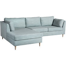 Max Winzer Lonchair Louisiana Eisblau links mit Sofa 2-Sitzer rechts Louisiana Chenille eisblau 258 x 158 x 88