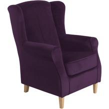 Max Winzer Ohrenbackensessel Lorris Samtvelours purple 77 x 86 x 103
