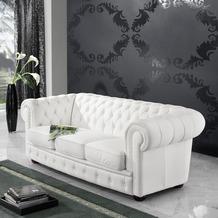 Max Winzer Sofa 3-Sitzer Bridgeport Kunstleder weiß 200 x 98 x 76