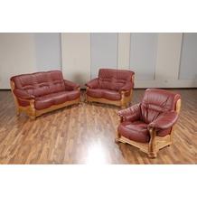 Max Winzer Sofa 3-Sitzer Tennessee pigmentiertes Nappaleder rot 205 x 95 x 95