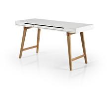 MCA furniture Anneke Schreibtisch L weiß, Buche massiv 3 Schubkästen 140 x 75 x 58 cm