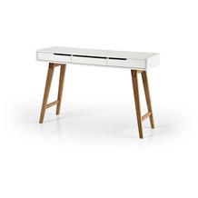 MCA furniture Anneke Schreibtisch S weiß, Buche massiv 3 Schubkästen 120 x 78 x 40 cm