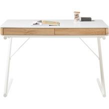 MCA furniture Bukarest Schreibtisch weiß matt, Dekor Eiche 2 Schubkästen 120 x 75 x 60 cm