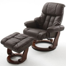 MCA furniture Calgary Relaxsessel mit Hocker, braun/walnuss