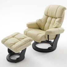 MCA furniture Calgary Relaxsessel mit Hocker, creme/schwarz