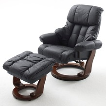 MCA furniture Calgary Relaxsessel mit Hocker, schwarz/walnuss