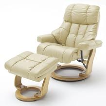 MCA furniture Calgary XXL Relaxsessel mit Hocker, creme/natur