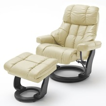 MCA furniture Calgary XXL Relaxsessel mit Hocker, creme/schwarz
