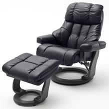 MCA furniture Calgary XXL Relaxsessel mit Hocker, schwarz/schwarz
