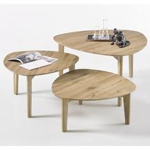 MCA furniture Camilla 3er Couchtisch Set, Asteiche
