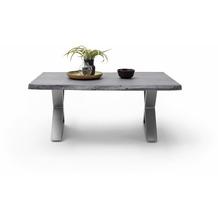 MCA furniture Cartagena Couchtisch grau Edelstahl gebürstet X-Bein 110 x 45 x 70 cm