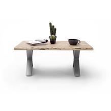 MCA furniture Cartagena Couchtisch natur Edelstahl gebürstet X-Beine 110 x 45 x 70 cm
