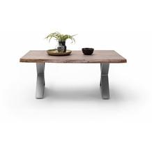 MCA furniture Cartagena Couchtisch walnuss Edelstahl gebürstet X-Beine 110 x 45 x 70 cm
