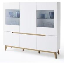 MCA furniture Cervo Highboard mit 2 Glastüren + 4 Türen, weiß