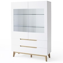 MCA furniture Cervo Vitrine mit 2 Glastüren und 2 Schubkästen, weiß