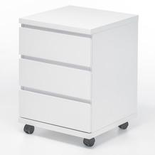MCA furniture Container Büro Rollcontainer mit 4 Rollen, hochglanz weiß
