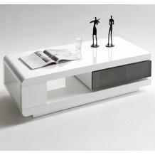 MCA furniture  Couchtisch mit 360° drehbaren Schubkasten, weiß/grau