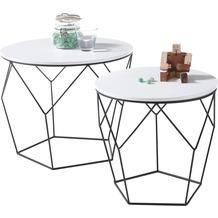 MCA furniture Haiti Couchtisch weiß schwarz  50 x 40 x 50 cm