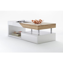 MCA furniture Hope Couchtisch weiß hochglanz, sägerau  120 x 43 x 60 cm