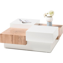 MCA furniture Pensa Couchtisch weiß lackiert, Dekor Eiche 2 Schubkästen 90 x 33 x 90 cm