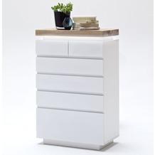 MCA furniture Romina Hochkommode mit 6 Schubkästen, weiß + Eiche