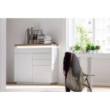 MCA furniture Romina Kommode mit 2 Türen und 3 Schubkästen, weiß + Eiche
