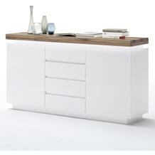 MCA furniture Romina Sideboard mit 2 Türen und 4 Schubkästen, weiß + Eiche