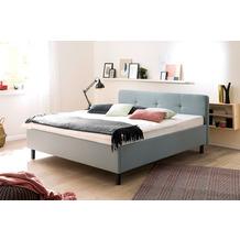 meise möbel Polsterbett Amelie Eisblau, mit Holzfuß in Graphit 180x200 cm, mit Holzfuß in Graphit