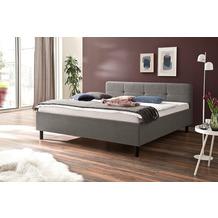 meise möbel Polsterbett Amelie Hellgrau 180x200 cm, mit Holzfuß in Graphit