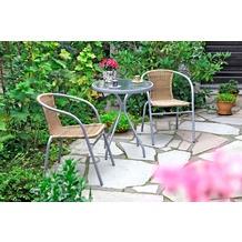 merxx 3tlg. Alassio Set, 2 Alassio Stapelsessel, 1 Tisch, Ø 60 cm, Cognac Gartenmöbelset