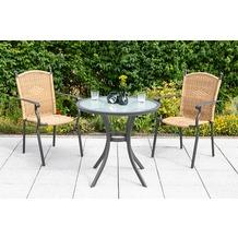 merxx 3tlg. Roma Set, 2 Stapelsessel, 1 Tisch Ø 80 cm, Natur Gartenmöbelset