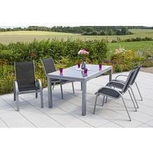 merxx Amalfi Set 5tlg., Stapelsessel & 160(220)x90 cm schwarz Gartenmöbelset