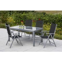 merxx Amalfi Set 5tlg. Klappsessel & 140(200)x90, schwarz