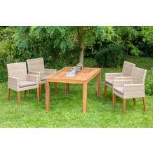 merxx 5tlg. Ranzano Set, 4 Sessel, Beine aus Akazienholz, 1 Ausziehtisch modern, 150 (200) x 90 cm, Akazienholz
