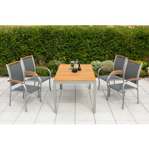 merxx 5tlg. Siena Set, 4 Siena Stapelsessel, mit Akazienholzapplikationen, 1 Tisch, 150 x 90 cm, Tischplatte aus Akazienholz, FSC Akazie