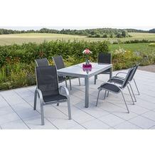 merxx Amalfi Set 7tlg., Stapelsessel & 160(220)x90 cm schwarz Gartenmöbelset