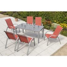 merxx Amalfi Set 7tlg., Stapelsessel & rechteckiger Tisch, terracotta